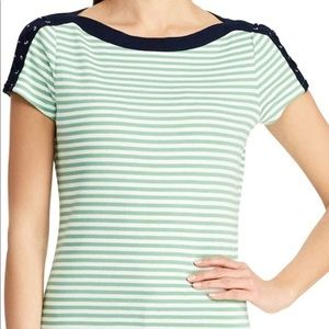 Chaps lace up sleeve striped boatneck top